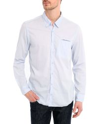 Harris Wilson Shirt With Light Poplin Contrasting Trim And Light Blue Flower Details - Lyst