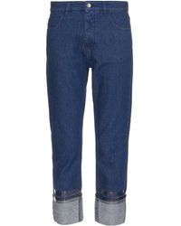MM6 by Maison Martin Margiela Lacquered-Cuff Straight-Leg Jeans - Lyst