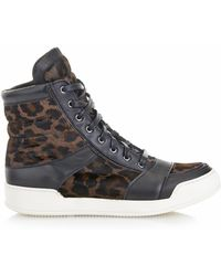 Balmain Calf-hair and Leather High-top Trainers - Lyst