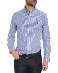 Polo Ralph Lauren Slim-Fit Blue Stripe Poplin Shirt - Lyst