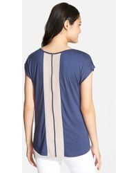 Pleione Zip Back Tee With Woven Contrast blue - Lyst