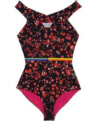 Preen Lang Red Flower Off The Shoulder Swimsuit - Lyst