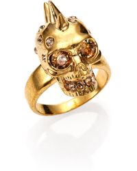 Alexander McQueen Crystal Spiked Skull Ring - Lyst