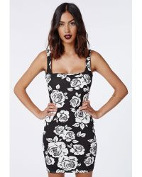 Missguided Cherish Stretch Crepe Black Floral Bodycon - Lyst