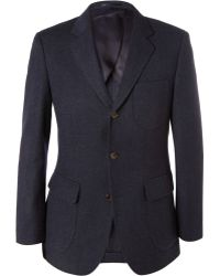 J.Crew Navy Ludlow Slim-fit Wool and Cotton-blend Suit Jacket - Lyst