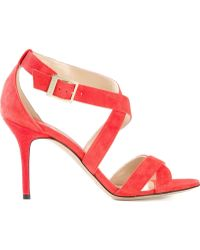 Jimmy Choo Orange 'Louise' Sandals - Lyst