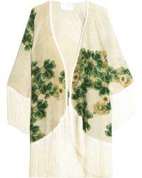 Athena Procopiou Gold Empire Kimono floral - Lyst