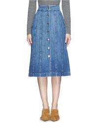 Frame Denim   'le Panel' Denim Skirt   Lyst