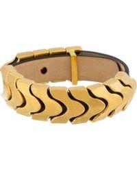 Alexander McQueen Black Leather Gold Link Bracelet - Lyst