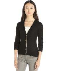 Burberry Black Merino Wool Nova Check Trim Cardigan - Lyst