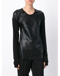 Lost & Found - Faux Leather Contrast Top - Lyst