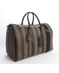 Fendi Brown Striped Coated Canvas and Leather Pequin Weekender Bag - Lyst