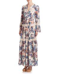 BCBGMAXAZRIA Maisy Lace-Trim Peasant Maxi Dress multicolor - Lyst