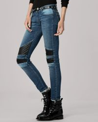 Maje Jeans  Patch Knee Skinny in Medium Wash - Lyst
