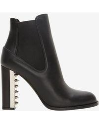 Alexander McQueen Studded Metal Heel Ankle Boot - Lyst