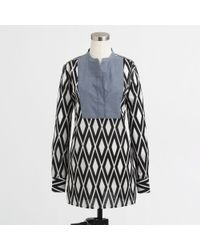 J.Crew Factory Printed Tunic with Solid Bib - Lyst