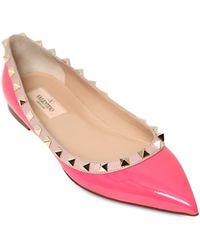 Valentino 10Mm Rockstud Patent Leather Ballerinas - Lyst