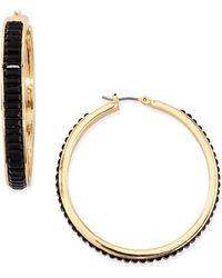 Fragments Black Crystal Baguette Hoop Earrings - Lyst