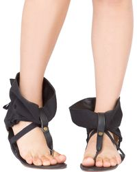 Akira Black Label - Ankle Wrap Flat Thong Sandals - Lyst
