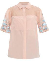 Rebecca Taylor Embellished Silk-Crepe Top - Lyst