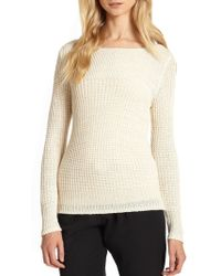 Joie Shantal Open-Knit Linen Sweater - Lyst