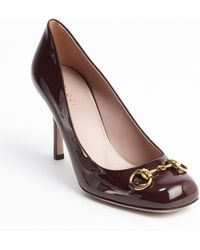 Gucci Bordeaux Leather Jolene Horsebit Accent Pumps - Lyst