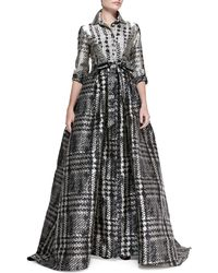 Carolina Herrera 34sleeve Houndstooth Shirtwaist Ball Gown - Lyst