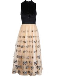 Alice + Olivia Kir Modern Mid Length Zebra Nude Dress - Lyst