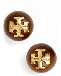 Tory Burch Logo Stud Earrings gold - Lyst