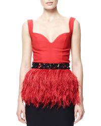 Alexander McQueen Ostritch Feather Peplum Top With Beaded Belt - Lyst