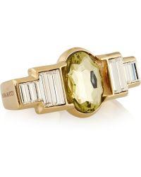 Nina Ricci - Goldtone Crystal Twofinger Ring - Lyst