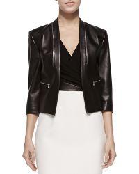 Michael Kors Princess-Seamed Leather Zip Jacket - Lyst