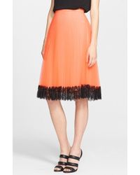 Christopher Kane Lace Trim Pleated Tulle Skirt - Lyst