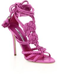 Brian Atwood Yuna Knotted Braided Leather Ankle-Tie Sandals - Lyst