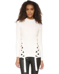 StyleStalker - Day Break Lace Up Knit Jumper - Lyst