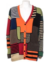 Moschino V Neck Cardigan In Virgin Wool Patchwork Effect multicolor - Lyst