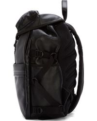 Alexander McQueen Black Leather Techno Clip Ribcage Backpack - Lyst
