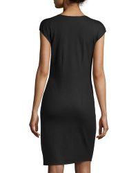 Halston Heritage Faux-Wrap Wool Dress black - Lyst