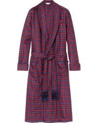 Derek Rose York Plaid Wool Dressing Gown - Lyst
