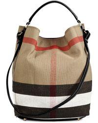 937bffa54eec Burberry - Medium House Check Cotton   Leather Bucket Bag - Lyst