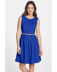 Ellen Tracy Kenya Belted Pleated Cotton Dress - Lyst