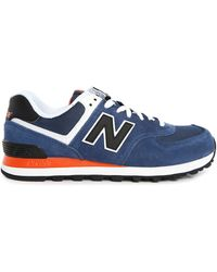 New Balance | blue 574 Blue And Black Suede And Mesh Sneakers | Lyst
