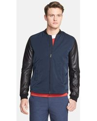 Vince Leather-Sleeved Varsity Jacket  - Lyst