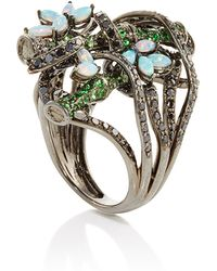 Wendy Yue - Tsavorite And Opal Floral Ring - Lyst