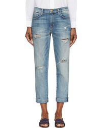 Current/Elliott Blue Distressed The Fling Jeans - Lyst