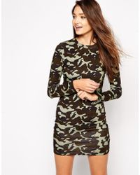 Illustrated People - Camo Print Long Sleeve Bodycon Dress - Lyst