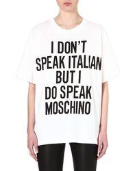 Moschino I Dont Speak Italian Cotton Tshirt White - Lyst
