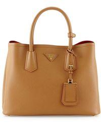 Prada Saffiano Cuir Small Double Bag - Lyst