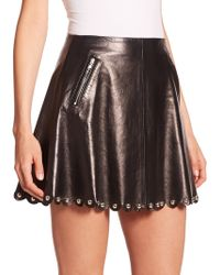 RED Valentino Studded Leather Skirt black - Lyst