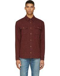 Visvim Burgundy Tweed Sherwood Shirt - Lyst